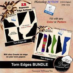 Torn Edges Action BUNDLE by Boop Designs