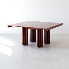 Carlo Scarpa (Italian, 1906–1978),  Quatour Table,  1974,  Veneered plywood,  h: 71 x w: 142 x d: 142 cm