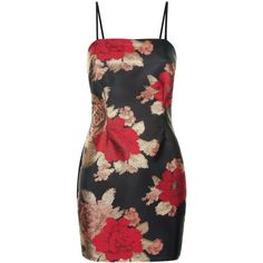 Parisian Black Satin Floral Brocade Dress (€40) ❤ liked on Polyvore featuring dresses, floral satin dress, flower pattern dress, brocade dress, floral design dresses and floral printed dress