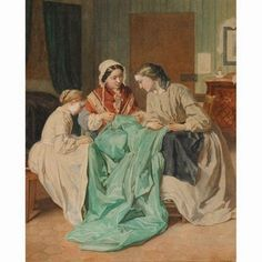 Sewing Bee, 1861 Jules Trayer | In the Swan's Shadow
