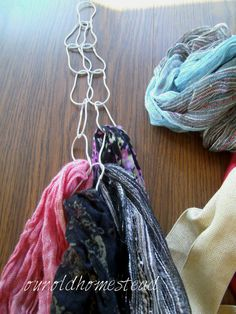 organize and hang scarves from shower curtain rings