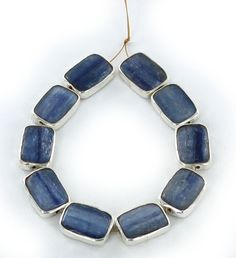 STERLING SILVER RIMMED KYANITE BEADS CUSHION SHAPED 14x10mm 10pc from New World Gems