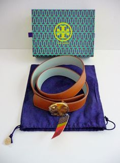 Tory Burch NWT Logo Reversible Leather Belt Brown & Sky Blue Size Small $195. #ToryBurch