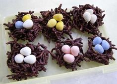 birds nests. I think Jordan Almonds will be cute as the eggs. Or the Whoppers they put out around Easter :)