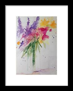 Colorful Bouquet Framed Print by Britta Zehm. All framed prints are professionally printed, framed, assembled, and shipped within 3 - 4 business days and delivered ready-to-hang on your wall. Choose from multiple print sizes and hundreds of frame and mat options.