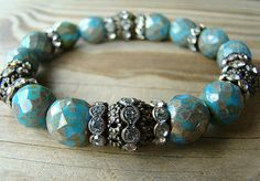 Blue Stretch Bracelet, Opaque Turquoise Blue Czech Glass, Clear Crystal Spacer Beads and Clear Rhinestone Filigree Beaded Stacking Bracelet by BeJeweledByCandi, $37.00