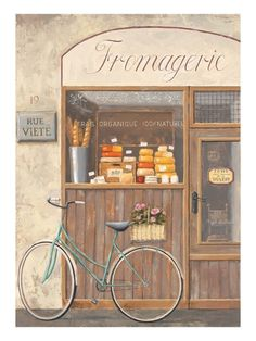 Art Print: Cheese Shop Errand Art Print by Marco Fabiano by Marco Fabiano : Paris Vintage, Posters Vintage, Illustrations, Illustration Art, Buch Design, Cheese Shop, Shop Fronts, Mail Art, Clipart
