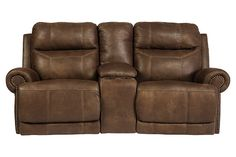 Brown Austere Power Reclining Loveseat with Console by Ashley HomeStore, Polyester/Polypurethane