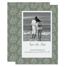 Moss Green  Damask Save the Date Card - wedding invitations diy cyo special idea personalize card