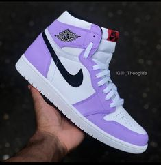 OG Lilac This is a custom mix color and probably will remain 1 of Jordan Shoes Girls, Girls Shoes, Jordan Outfits, Jordans Girls, Nike Air Jordans, Souliers Nike, Cute Sneakers, Colorful Sneakers, Girls Sneakers