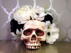 FLOWER CROWN Black and White Flower by LaCatrinaDeSanDiego on Etsy