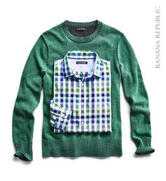 Gift for him: This holiday season, give him a cozy sweater he's sure to love, and pair a coordinating button down. This hunter green Italian wool crew pullover (available in multiple colors) was made just for him at Filpucci, an artisanal Italian mill, and is wrinkle resistant. Match it up with a tailored slim fit non-iron shirt in gingham that can be worn under the sweater or on its own.