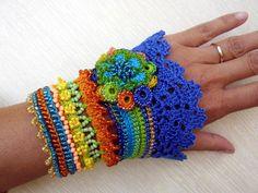 Crochet Bracelet Bracelet Cuff Beaded Bracelet by SvetlanaCrochet