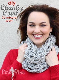 DIY Arm Knitting Chunky Cowl Scarf