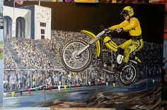 Marty tripes winning the first ever Superbowl of Motocross @ LA Coliseum in 1972. Commissioned to present to Marty by Jim Beauchamp.