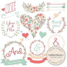 Premium Floral Clip Art & Vectors - Mint and Coral Wedding Clip Art, Wedding Clipart, Love Clipart, Vintage Flowers, Hand Drawn Flowers