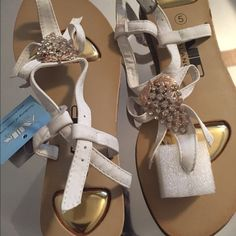 White and gold sandals White and gold sandals brand new never worn Shoes Sandals