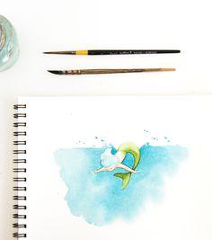 Mermaid Watercolor illustration - sketchinc