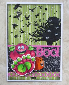 Art Impressions Rubber Stamps: Ai Shakers: My Feet Set (Sku#4680) ... handmade monster Halloween card.  wobble, boo!, Tree, bats, scary, spider webs