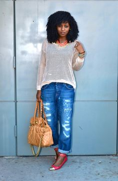Style Pantry | Linen Perforated Blouse + Ripped Boyfriend Jeans