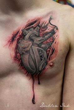 Chest Biomechanical Heart Tattoo by SW Tattoo