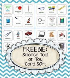 """Science Tool or Toy?"" Card Sort (free; from Kindergarten Kindergarten)"
