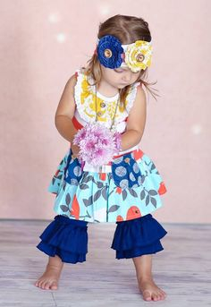 Giggle Moon - New Song Mabel Dress W/Ruffle Capri's (Baby) from Spoil Me Kidz Boutique