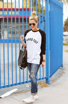 The Casual Weekend Look: Boyfriend Jeans, Chuck Taylors, Baseball Tee; dressed up with jewellery, high pony, bag and red lips.