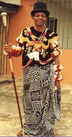 Etubom Asuquo Etim wears Ukara cloth, (traditional Ekpe wrapper)  at his investiture as Obong-Nyamkpe of Efe Ekpe Eyo Ema (Ekoretonko community). Calabar, Nigeria | Photograph by Dr. Ivor Miller