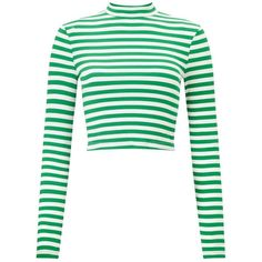 Miss Selfridge Green Striped Funnel Neck Top ($14) ❤ liked on Polyvore featuring tops, shirts, assorted, white top, white shirt, striped crop top, white crop tops and long sleeve stripe shirt