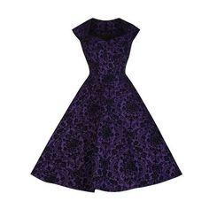 Pretty Kitty Fashion Purple Black Flock Cap Sleeve 50s Swing Dress ($37) ❤ liked on Polyvore featuring dresses, purple cocktail dresses, trapeze dresses, swing dress, short cap sleeve dress and purple swing dress