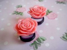 Cute PInk Rose Flower Plugs Made To Order Custom by loveunicorns, £8.50