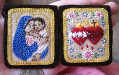 Embroidered Brown Wool Scapular Madonna and by StellaMarigoldArt, $79.00
