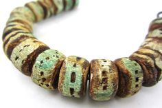 Beatnheart - Sedona.. Artisian Beads..ancient urban artifacts. Aqua, turquoise, stone, earthy, rustic jewelry making components - polymer clay