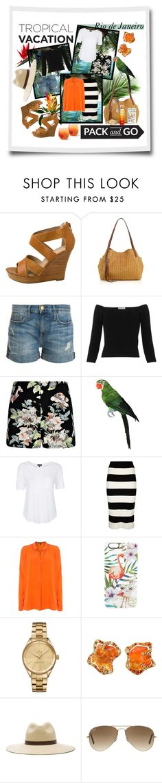 """""""Pack and Go: Rio de Janeiro"""" by paisleywest ❤ liked on Polyvore featuring Seychelles, Eric Javits, Current/Elliott, Whistles, Topshop, Milly, Lauren Ralph Lauren, Casetify, Lacoste and Janessa Leone"""