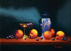 Peaches and Kangxi vase by Vicki Sullivan #oil on Belgian Linen#still life #Australian artist #original oil painting #Australian artist#fresh fruit #organic peaches