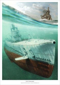 Tumblr: lex-for-lexington: Gato-class submarine artwork by Piotr Forkasiewicz and Waldemar Góralski. (Source)