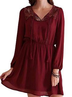 Shop Red V-neck Crochet Long Sleeve Plain Chiffon Dress from choies.com .Free shipping Worldwide.$11.9