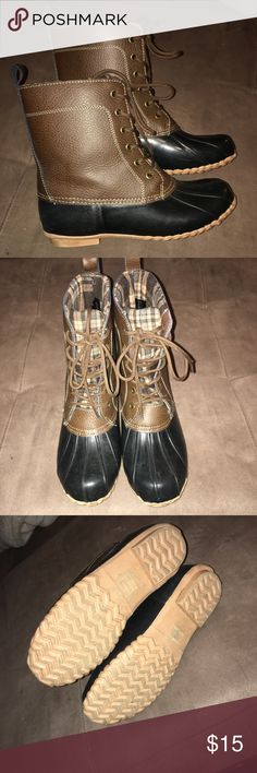 Duck boots Only worn a few times! Flannel lined, brown and black duck boots. Sporto Shoes Winter & Rain Boots