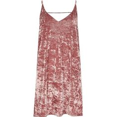 River Island Pink marble velvet mini slip dress (£44) ❤ liked on Polyvore featuring dresses, pink, pink dress, strappy cami, red camisole, red slip dress and pink mini dress