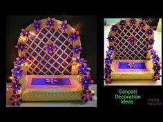Ganpati Decoration Ideas At Home Eco Friendly Ganpati Decoration, Ganpati Decoration Design, Background Diy, Background Decoration, Diy Crafts For Gifts, Diy Arts And Crafts, Ganesh Chaturthi Decoration, Home Flower Arrangements, Janmashtami Decoration