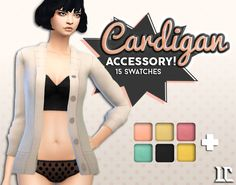Cardigan as Accessory! Today I have a accessory cardigan very much inspired by SimBlob's accessory Jacket. It has 15 swatches and is available in the ring category. But of course it wouldn't be...