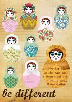 Be different - russian doll nerd collage poster print  by Claudia Schoen