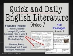 This document helps students review literature topics in just a few minutes a day.  What makes this document unique?  Not only does it contain passages that use the same genres and professional writing techniques as award winning authors, it also reviews literature topics such as character analysis, character motive, theme, figurative language, literary devices, point of view and more  in just a few minutes a day.