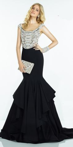 Alyce Elegant Mermaid Evening Dress 2514. Colors: Black/Diamond White, Diamond White/Diamond White. Size: 00-12