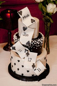 Casino night monte carlo birthday party ideas i do kickin black and silver vegas themed wedding cake complete with falling personalized cards and falling pearls junglespirit Images
