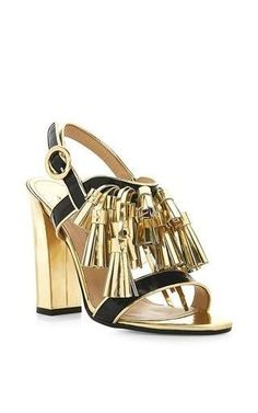 Arta Gold Tassle Sandals With Block Heel by Paul Andrew Now Available on Moda Operandi