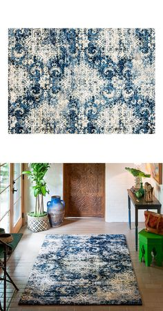 Boasting handsomely distressed patterning and rich, sumptuous blue and gold hues, this Adaya Rug will add an air of sophistication to any room. Made in Egypt from power loomed microfiber polyester, thi...  Find the Adaya Rug, as seen in the Happy Hibernating Collection at http://dotandbo.com/collections/happy-hibernating?utm_source=pinterest&utm_medium=organic&db_sku=116198