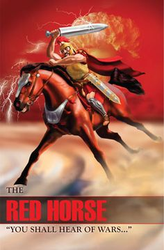 horse of the apocalypse- biblical symbol: Rev A warrior wielding a great sword and mounted on a red horse symbolizing cruel battle and dirty war. He is to take peace from the earth so that men should slaughter one another. Revelation Bible Study, Revelations Explained, The Book Of Mysteries, Horsemen Of The Apocalypse, Bible Illustrations, Bible Pictures, Jesus Is Coming, Biblical Art, Christ