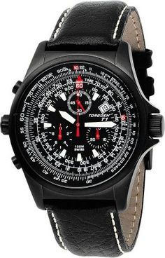 9ac019b8eb3 (Limited Supply) Click Image Above  Torgoen Men s Flight Computer Black Ion  Plated Stainless Watch - Black Dial - Leather Strap -